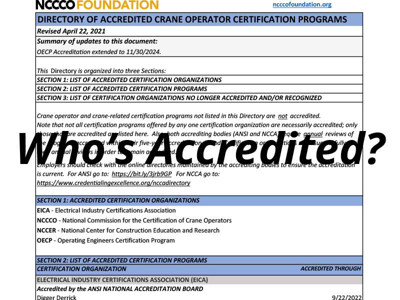 Updated Accredited Crane Operator Certifiers Directory Published